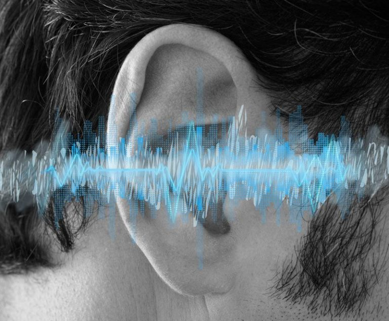 Sound waves over top ears